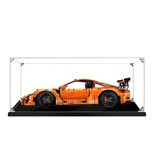 Elroy369Lion 2 mm Dicke Baustein Acryl Display Box für Lego Technic Porsche 911 GT3 RS 42056, Transparente Show Box für Lego 42056 (kein Lego Kit) - kein Klebetyp