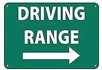注意サイン-ゴルフ練習場。通知のためのインチ通りの交通危険屋外の防水および防錆の金属錫の印