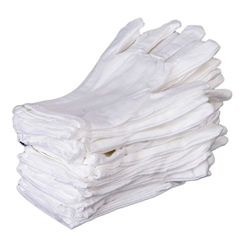 12 Paar Baumwolle Weiße Handschuhe Inspektion Gartenarbeit Arbeit Größe L