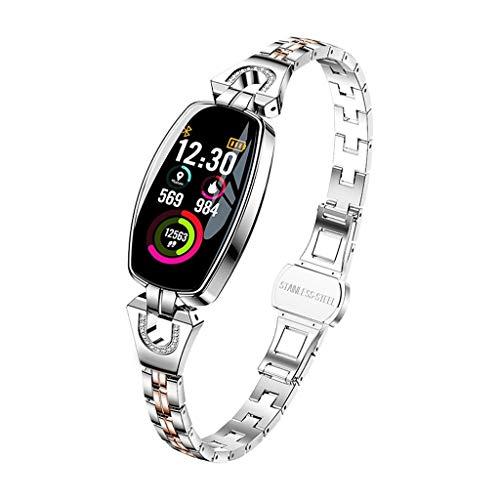 ANMY Fitness Uhr Fitness Tracker Pulsmesser HD Farbdisplay Wettervorhersage Blutdruck Test Damen Armband,Silver