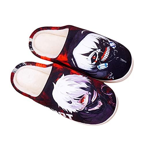 YZJYB Tokyo Ghoul Anime Innen Warm Pantoffeln für Herren Damen 3D Drucken Ken Kaneki Atmungsaktiv Korallenvlies Hausschuhe,Schwarz,EU 39~42(280)
