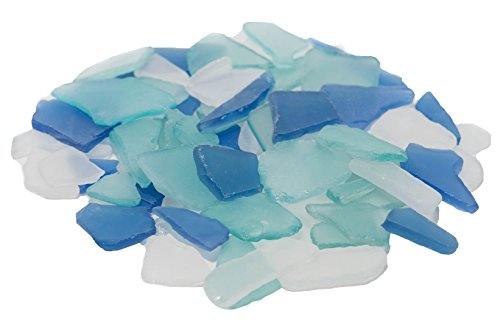 Sea Glass | Cobalt Blue Aqua and Frosted White Sea Glass Mix | 11 Ounces of Sea Glass for Decoration and Craft | Plus Free Nautical eBook by Joseph Rains