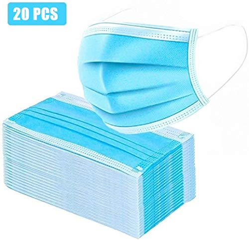 FUSKANG Azul 3 Capas Transpirable M-A-S-C-A-RAS, Cómodo Quirúrgica Cuidados For El Uso Al Aire Libre, Ministerio del Interior, El Hospital (Color : 20 PCS)