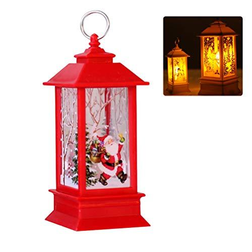 JiuRong Vintage Noël LED Lantern À Piles Santa Claus Bonhomme De Neige Lampe De Suspension pour Noël À La Maison Party Table Décoration