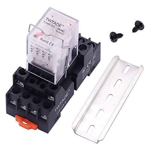 TWTADE AC 24 V - Relé de potencia electromagnética de 14 pines DPDT (4NO 4NC) - Relé indicador LED con bobina con enchufe YJTF08A-E/riel ranurado de aluminio/tornillo/gancho de base YJ4N-GS-AC 24V