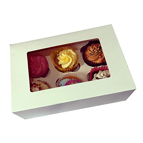 ALRAAR 6 Holds Cupcake Boxes, Pack of 12 Cupcake Boxes with Inserts and Display Window Includes 12x White Paper Carrier Bags with Flat Handles (6 Holes Cupcake Boxes)