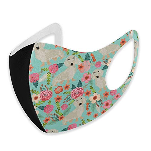 DearLord - Máscara de tela reutilizable unisex con protección lavable, diseño de perro de Isabella con diseño de flores, color azul, para la nariz y la boca, transpirable, antihumo, deportes