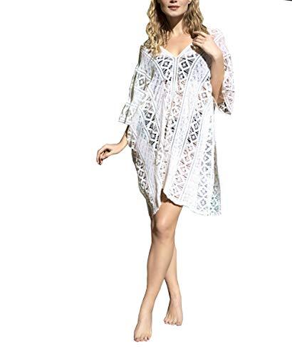 ACLOIN Vestido de ganchillo para mujer, falda de playa, bikini, estilo bohemio, corto, cuello en V, vestido de verano Blanco Talla única