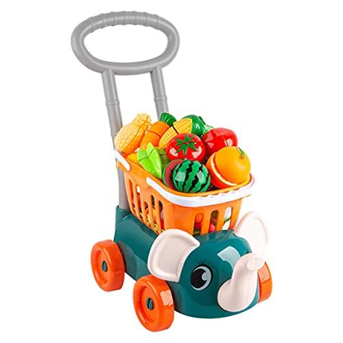chiwanji Carrito de Supermercado con Carrito de Frutas Y Verduras Juguete Preescolar