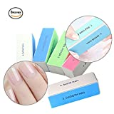 Nail Buffer Block, 4 Way Nail Art Shiner 4 Step Buffing – File, Remove,Smooth,Shine – Mini Natural Nail Polisher Sanding File Block for Professional Manicure Nail Care DIY or Nail Salon Pack of 5pcs