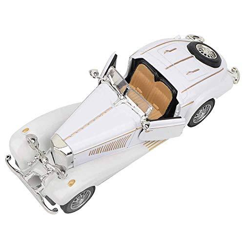 Mxtech Vehículo de Juguete Resistente, Modelo de Coche Antiguo, luz de Sonido de Color Brillante, Alta simulación para bebé(White)