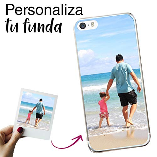 Mookase Funda para iPhone 5 / 5S / SE Personalizada para TU MÓVIL con Imagen O Texto, Carcasa Personalizable, Gel Flexible, Borde Trasparente, Regalo Original