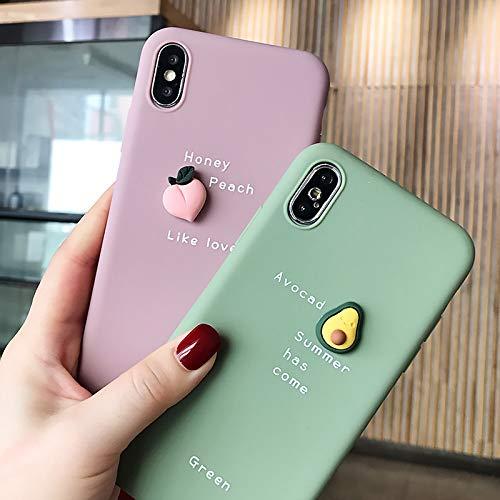 LJQXBF Funda para telefono movil Caja del teléfono con patrón de Aguacate 3D para iPhone XR XS MAX X 11 8 7 6 6S Plus Lovely Soft Silicone Protection Cute Back Cover, Rosa, pa