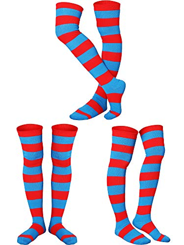 3 Pairs Blue and Red Striped Long Knee Thigh High Striped Socks Tight for Women