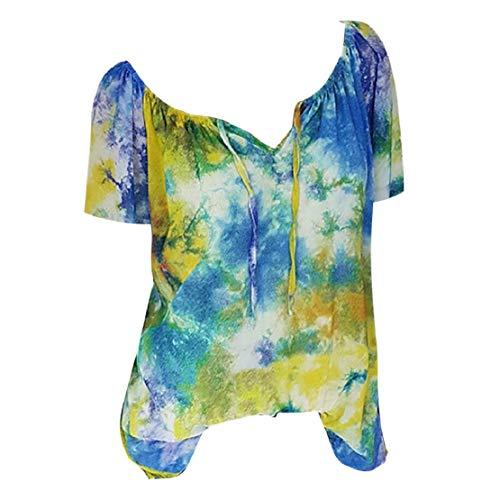 Blouse, dames korte mouwen bloemen bovenstuk mode V-hals kant overhemd casual tuniek top zomer t-shirt elegant zomerblouse blousenshirt grote maten