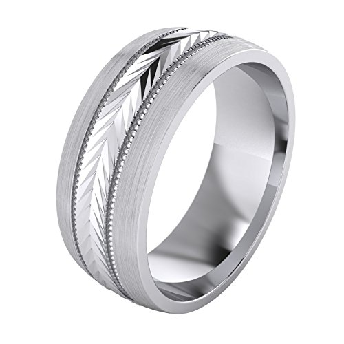 Heavy Sterling Silver 8mm Mens Wedding Band Arrow Patterned Ring Comfort Fit Brushed (O)