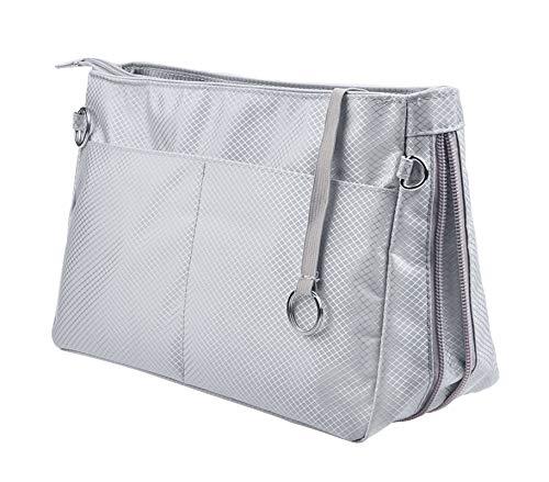 Vercord Expandable Nylon Handbag Purse Organizer Insert Liner Shaper Bag in Bag Beige Grey XLarge