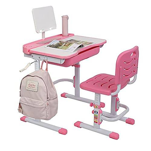 Juego de mesa y silla para niños, altura ajustable, mesa para estudiantes escolares, mesa para niños con escritorio de dibujo, para artes y manualidades, hora de aperitivos, escuela en casa (rosa)