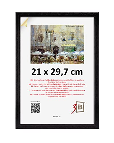 3B Marco de Fotos Jena 21x30 cm - Negro - Marco de Madera, Foto, parojo con Vidrio de poliéster (lámina de plástico)