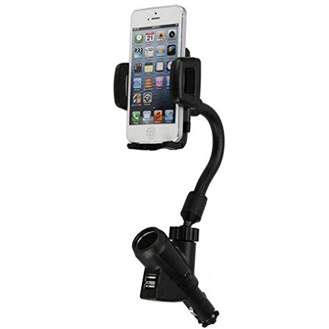 Motorola Moto Z Force Droid Compatible Car Mount Charger Plug Holder Dual USB Port Dock Cradle Gooseneck Swivel Black