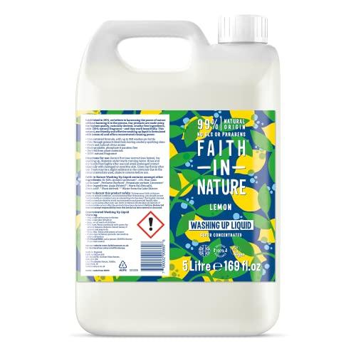 FAITH IN NATURE Origin, super konzentriert, biologisch abbaubares Spülmittel mit Zitronenöl, vegan, tierversuchsfrei, frei von Parabenen, Phosphaten und SLS, 5 l, 5000010950101