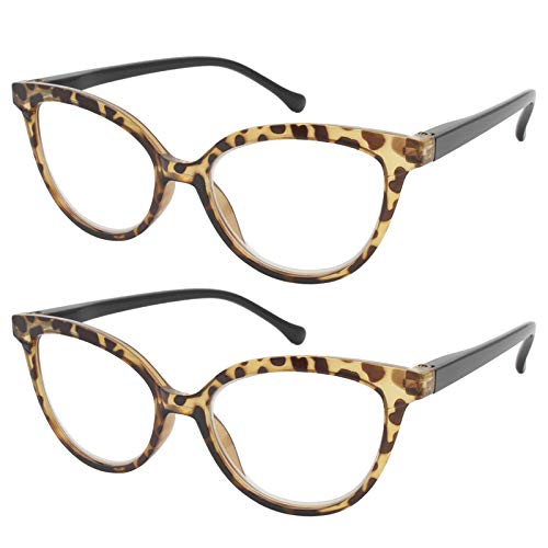 TBOC Gafas de Lectura Presbicia Vista Cansada - [Pack 2 Unidades] Graduadas +2.50 Dioptrías Montura de Pasta [Carey Ámbar] de Diseño Moda Mujer Lentes de Aumento Leer Ver de Cerca con Bisagra