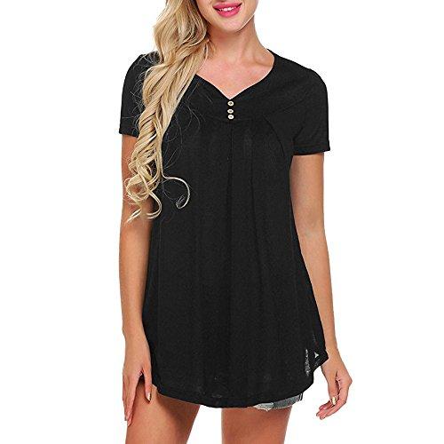 YKARITIANNA Women Solid Row Pleats Button Ruched O-Neck Short Sleeve Irregular T-Shirt Tops