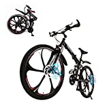 Folding Mountain Bike, 26 Inch, 21 Speed, MTB Folding Bike for Men and Women (US Stock) (Black)