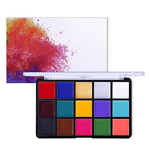 NJZY 15 Colores aceitosos Paleta de Cara Pintura Corporal Maquillaje de Escenario Pintura Facial,15 * 1.5g