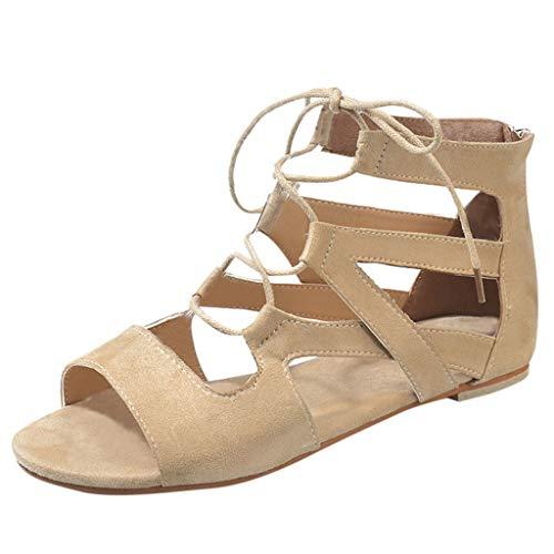 Women's Fashion Rome Sandals by Dainzuy,Summer Flat Beach Breathable Bandage Zipper Sandals Open Toe Shoes Beige