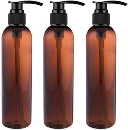 Empty Lotion Pump Bottles, BPA-Free Refillable Plastic 8 Oz Amber PET Containers, Great for - Soap, Shampoo, Lotions, Liquid Body Soap, Creams and Massage Oil's, 3 Pack