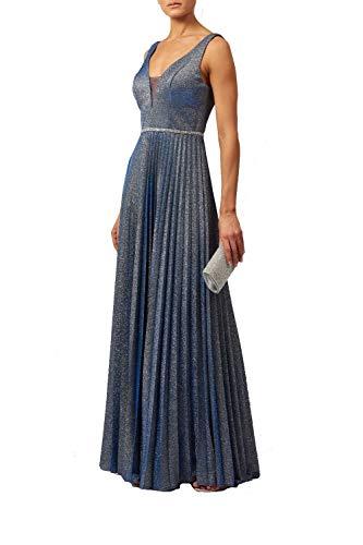 Mascara Marine Blau Mc129215 Plissiert Rock Schimmern Kleid 42