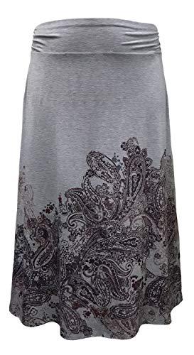 LEEBE Women's Plus Size Printed Maxi Skirt (1X-5X) (5X, Purple Paisley/Grey)