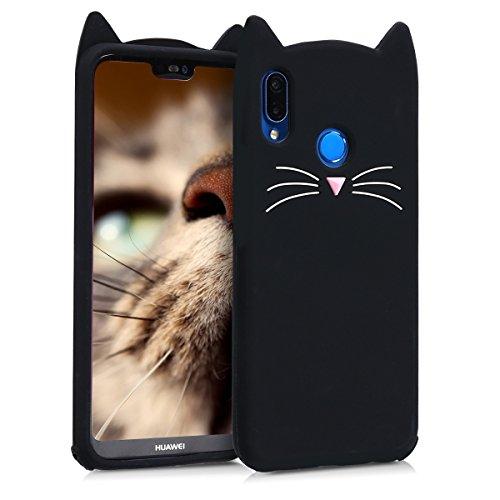 kwmobile Schutzhülle kompatibel mit Huawei P20 Lite - Hülle Handy - Handyhülle - Silikon Cover Case Katze Schwarz Weiß