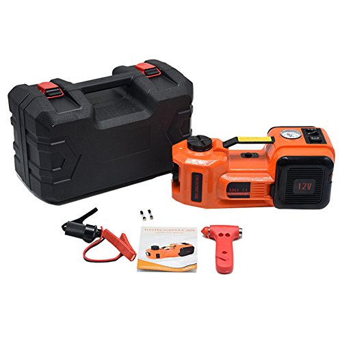 12V DC 5.0T(11023lb) Electric Hydraulic Floor Jack,Tire Inflator Pump and LED Flashlight 3 in 1 Set with Safe Hammer, Whole Set of Car Repair Tool Kit Elec   tric Car Jack