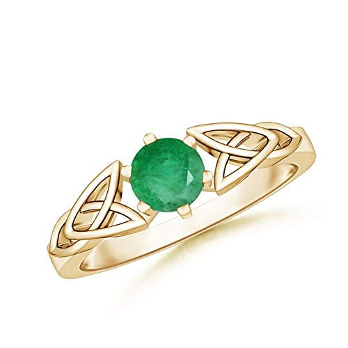 Solitaire Round Emerald Celtic Knot Ring in 14K Yellow Gold (5mm Emerald)
