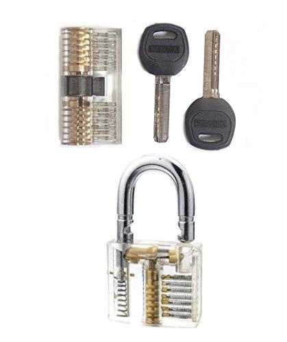 Lock Picking Set zwei Übungsschlösser ,+ Lockpicking Anleitung/ Handbuch Sichtfenster, lockpicking, Übungsschloss incl. Schlüsseln. Metall Practice Lock Schlösser knacken - Hobby - locksmith Übungsschloss Manipulationszylinder- Geocaching