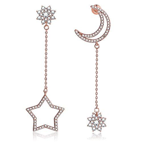 KnSam, orecchini da donna in oro rosa, con pendenti traforati a forma di luna e stella e con strass di cristallo bianco