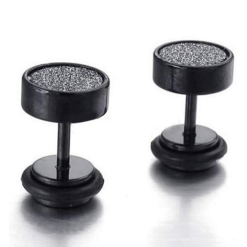 Fashion Trend Ear Studs Black Stainless Steel Punk Frosted round dumbbell Stud Earrings Unisex Jewelry,Colour Name:Black & Silver Bracelets Earrings Rings Necklaces (Color : Black+Silver)