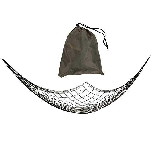 Alomejor Hamaca Portátil Fuerte Nylon Cuerda de Malla Camping Red de Hamaca Redes Colgantes con Bolsa de Almacenamiento para Senderismo Deportes de Viaje al Aire Libre Patio de Playa