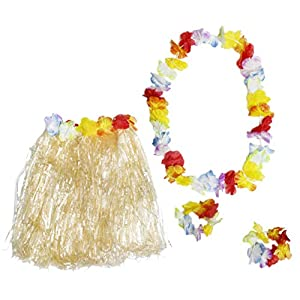 Hawaiian Luau Skirt – 24-Piece Hula Dance Luau Party Supplies Set with 6 Grass Skirts Colorful Silk Faux Hibiscus Flowers, 6 Leis, 12 Bracelets, for Costume Party, Birthday, Performances, Beige