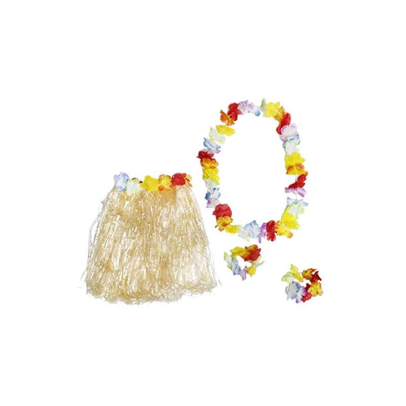 silk flower arrangements hawaiian luau skirt - 24-piece hula dance luau party supplies set with 6 grass skirts colorful silk faux hibiscus flowers, 6 leis, 12 bracelets, for costume party, birthday, performances, beige