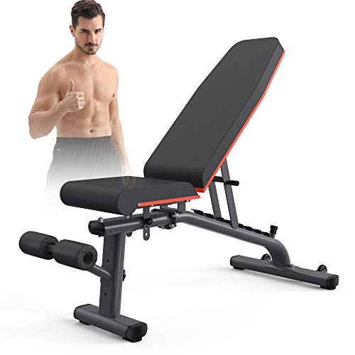 KingStone Weight Bench, Adjustable Weight Bench Strength Training Workout Bench Incline Decline Flat Bench (Black)