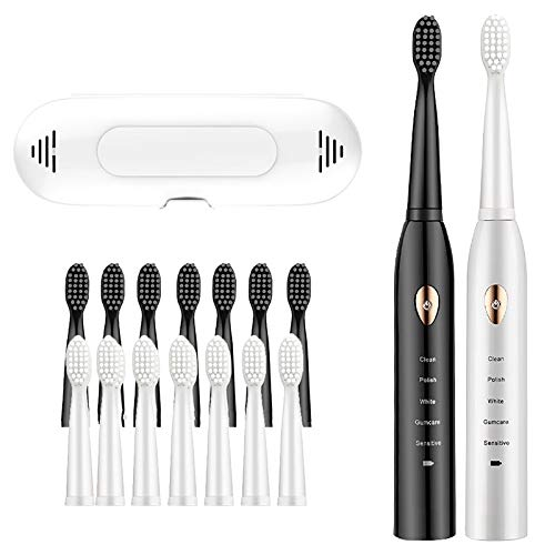 OOFAJ 2PCS Electric Toothbrush, Adult Rechargeable Super Automatic Sonic Electric Toothbrush, Student Male And Female Couple Travel Toothbrush Set, 5 Brushing Modes, 16 brush heads
