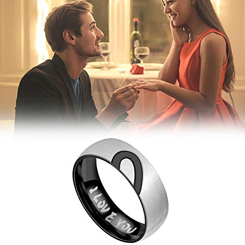 Janly Clearance Sale Women Rings , Titanium Steel Half Peach Heart-Shaped Couple Ring Jewelry, Valentine's Day Birthday Jewelry Gifts for Ladies Girls (Black-10)