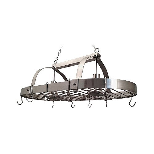 Elegant Designs PR1000-BSN Home Collection 2 Light Kitchen Pot Rack with Down Lights, Brushed Nickel by Elegant Designs