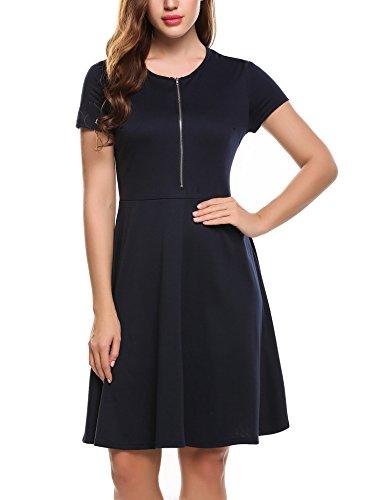 Zeagoo Damen Rundhals Kleid Reißverschluss Vorne Freizeitkleid Sommerkleider A-Linie Knielang Marineblau