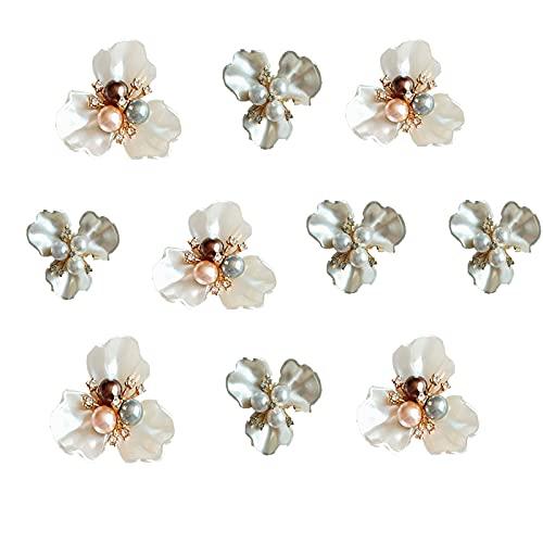 10 Pcs Botón Flor Cristal, Perla Botón, Aotones Perlas, Botones Diamantes Imitación para la Decoración del Hogar del Banquete de Boda y la Decoración de Manualidades de Bricolaje (3,5 cm * 3,5
