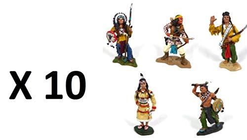 - Los mit 10 Indianerfiguren: Geronimo, Pocahontas, Sitzender Stier, Morgenstern, Häuptling Joseph, Metall, 7 cm