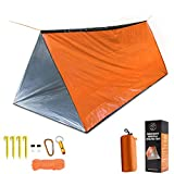 Emergency Tent, 2 Person Tube Tent Survival Shelter with Paracord, Stakes, Whistle Ultralight Survival Tent Emergency Shelter Use as Survival Gear Space Blanket for Camping, Hiking (Orange)